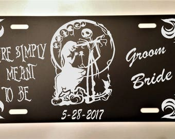 Nightmare Before Christmas Jack Sally Black License Plate Custom Personalized Wedding Anniversary Gift