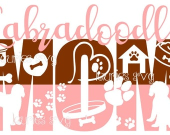 Labradoodle mom file- dxf,svg,png,jpg and  silhouette cutting file