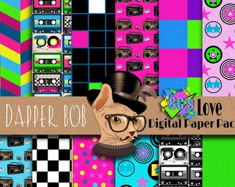 I Love the 80's Digital Scrapbook Paper Pack