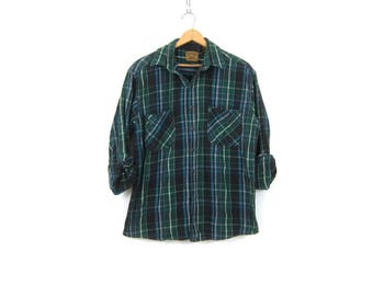 Green Plaid Shirt Cotton Flannel Lumberjack Button Up Pocket Oxford Vintage Rugged Boyfriend Shirt Men's Size Large