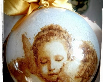 Golden Christmas bauble,Angels-Christmas ornament,Christmas decoration,Christmas gift idea,Rustic