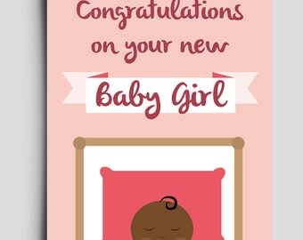 Congratulation Baby Girl - African Greetings Card