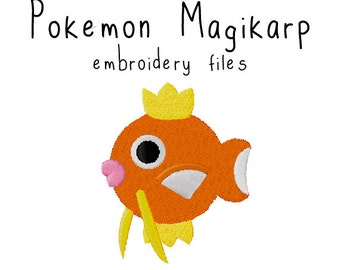 Pokemon Magikarp EMBROIDERY MACHINE FILES pattern design hus jef pes dst all formats Instant Download digital applique kawaii cute