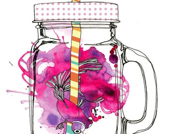 Art Print Watercolor Illustration Mason Jar and Goldfish