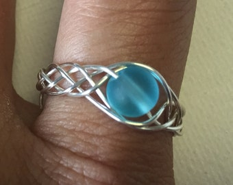 Blue Sea Glass Silver Woven Wire Adjustable Ring