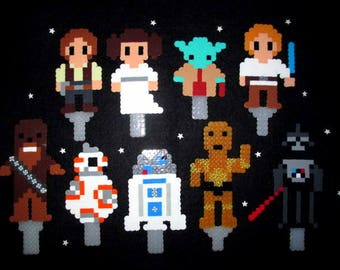 Star Wars Birthday Cake Toppers made from Perler Beads