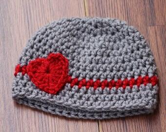 Baby boy hat, Valentines preemie hat, Crochet baby hats, valentines newborn infant hat, Crochet photo prop, Baby girl heart