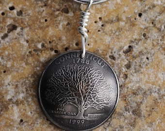 Connecticut Quarter Coin Key Ring Charter Oak Tree Keychain US State Quarter Dollar Coin Connecticut Keychain 1999 Keyring Hendywood  KCE40