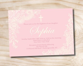 Lace Baptism Custom Baptism Invitation / Christening Invitation / Communion Invitation - Printable digital file or printed invitations