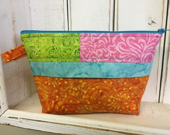 Quilted pouch, SALE, teacher gift, batik pouch, travel pouch, cosmetic bag, made in Canada