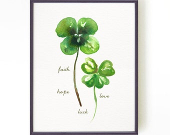 Shamrocks watercolor painting Four leaf clover print St. patrick's day decor Faith Hope Love Luck Botanical print Buy 2 Get 1 Free