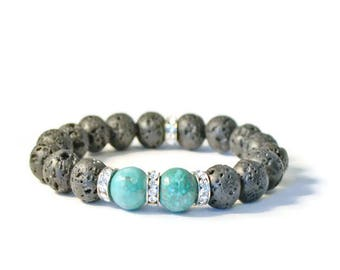 Lava Rock Aromatherapy Stretch Bracelet, Green Turquoise with Crystal Rondelles, Essential Oil Diffusing Jewelry