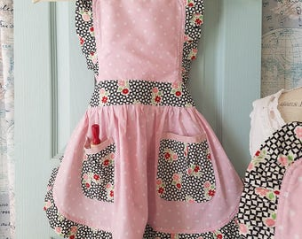 Girls/youth size Pink and White Polka Dot and Black Retro Kitchen Apron