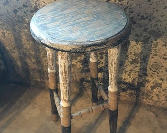Multi distressed shabby chic style bar stool, furniture, indoor decor