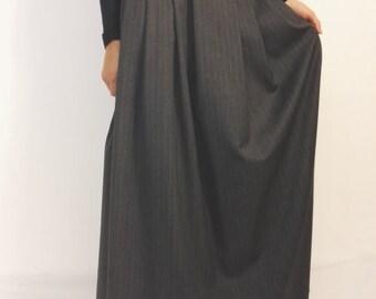 Long wool panel skirt with pleats and pockets, large women's Maxi skirt with pockets, wool skirt, grey skirt bohemian skirt