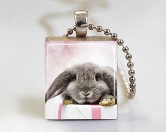 Gray Cute Bunny Rabbit Easter - Scrabble Tile Pendant - Free Ball Chain Necklace or Key Ring