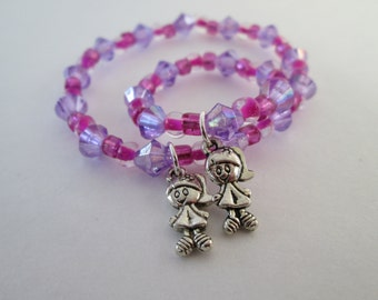 Little girl and doll jewelry matching bracelets Sisters purple Doll accessory