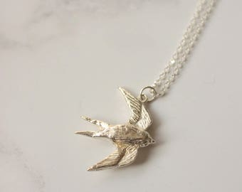 Silver swallow necklace - bird pendant - swallow pendant - woodland jewellery