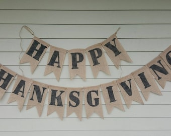 Thanksgiving banner. Burlap. Made by a stay at home veteran