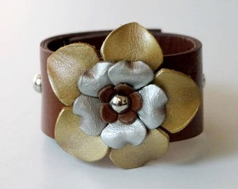 Flower Bracelet Leather Flower Cuff Flower Bangle Flower Leather Cuff Tan Color