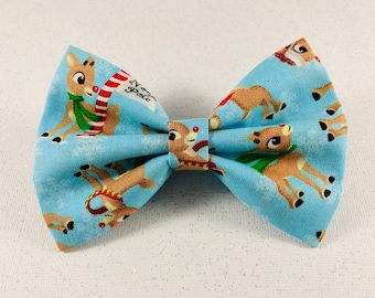 New! Rudolph the red nose reindeer Hairbow Christmas ready.