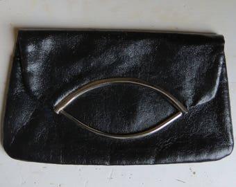 1980s black leather clutch/ 1980s foldover clutch/ vintage bag