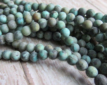 Choice of matte African Turquoise bead strand, 4 6 or 8mm, African Turquoise beads, African Jasper, beads, bead strands, 6mm bead strands