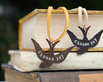 Choose Joy Sparrow Necklace Bird Brass Metal Stamped Jewelry Gifts Under 30