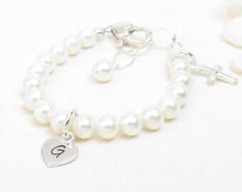 Christening or Baptism Bracelet - Baby Bracelet - Personalized Newborn or Infant Bracelet - Girl Confirmation - Baby Girl Baptism Gift