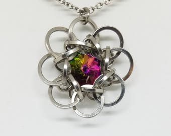 Celtic Rosette 9 Stainless Steel Chainmaille Pendant with Crystal Electra Swarovski Rivoli