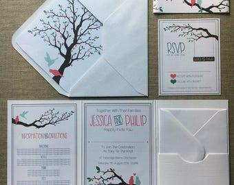 LOVE BIRDS Wedding Invitation Folder (Pocketfold) with Matching RSVP