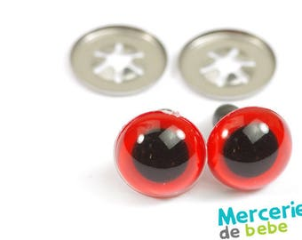 Set of 2 eyes for Teddy - 12 mm - Red