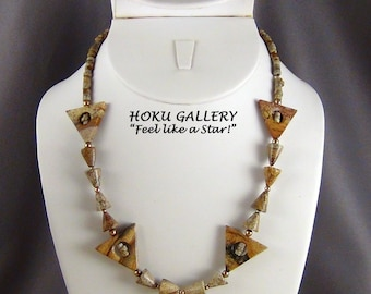 """Picture Jasper Triangles, Cones, Heishi Necklace - 14k Gold Filled Beads & Clasp - 18"""""""