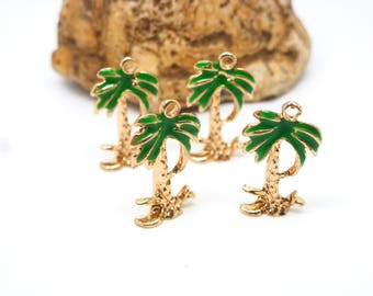 4 17 * 9mm gold coconut palm tree charms and green enamel - alloy zinc - tropical tree (8SBD70)