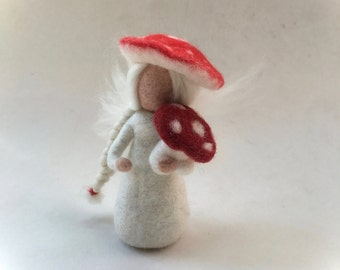 Toad stool Fairy.Wet-felted. Waldorf. Felted.flower child.
