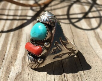 Turquoise , Coral , and Sterling Silver Ring   Southwestern Rings   Southwestern Jewelry   Western Jewelry   Native American Style Jewelry
