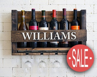 Gift For Dad, Gift For Grandpa, Gift For Him, Unique Father's Gift, Brother, Personalized Wine Rack, Family Wine Rack