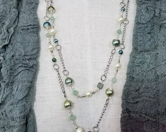 Fabulous Long Silver Necklace with Majorcan Pearls, Wire-wrapped Faux Pearls, Pyrite Cubes, Faceted Green Chalcedony, Faceted Hematite