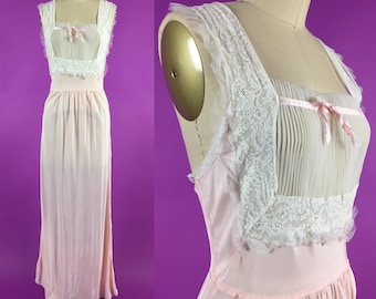 40s Blush Pink Nightgown with Sheer Pleated Bodice - S/M