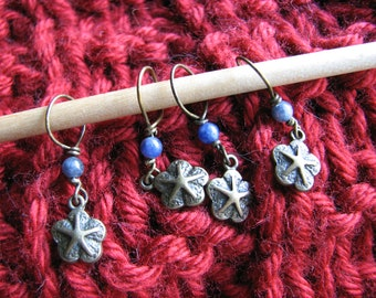 Starfish charm | stitch markers | knitting | crochet | dumortierite quartz | supplies | snag free loop