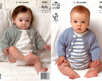 King Cole Knitting Pattern 3989~Two Romper & Cardigan Sets~4ply~16-22""