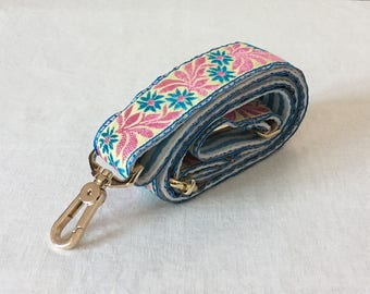 Pink/Blue Adjustable Purse Strap Crossbody Bag Strap Replacement