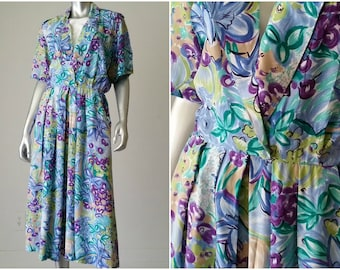 80s | Floral Dress | Summer Dress | Midi Dress | Rayon Dress | Vintage Dress | Flower Dress | Spring Dress | Watercolors | Made in the USA
