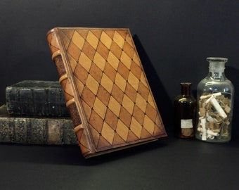 Natural Leather Journal / Blank Book, Tooled Decoration - Romantic Moments