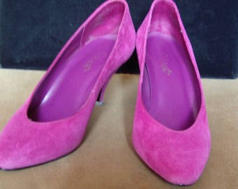 Raspberry Jam Suede High Heel Pumps Like- New  Size 7 Med.  Item # 55  Shoes