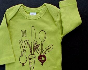 Veggie silverware long sleeve bodysuit organic cotton baby clothes screen printed home grown vegetables