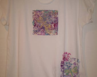 Hand made and Hand Painted-One of a Kind white knit top 34.00