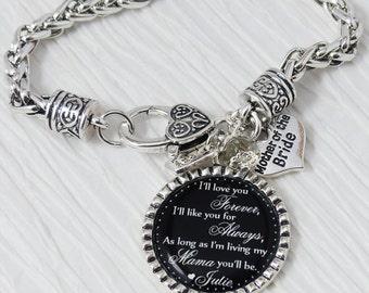 Wedding Gift, Mother of the Bride-Keepsake-Personalized Wedding Mother of the Bride Bracelet-Black-Wedding Jewelry Bracelet-Gift from Bride