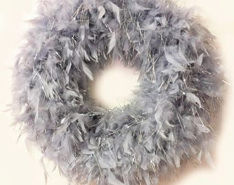 Quality Heather Gray with silver lurex Feather Wreath