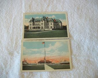 2 Vintage Unused Postcards Newport RI Rhode Island Ochre Court School Government Landing Station Ephemera Scrapbook  Travel Landmarks